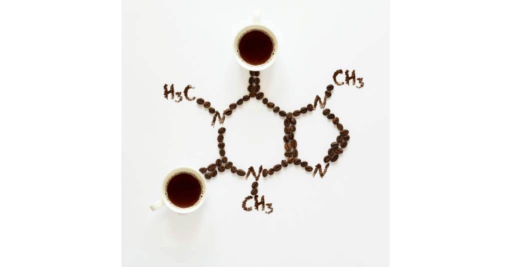 The structure of a caffeine molecule, drawn from coffee and coffee beans