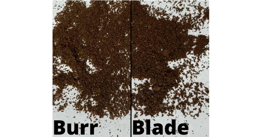 Side-by-side comparison of burr and blade grinds, showing uniformity of the burr grind and inconsistency of the blade grind