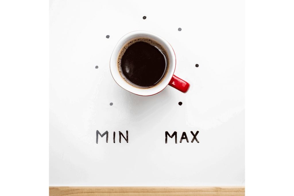 A coffee cup set up to mimic a dial set to max, illustrating caffeine content