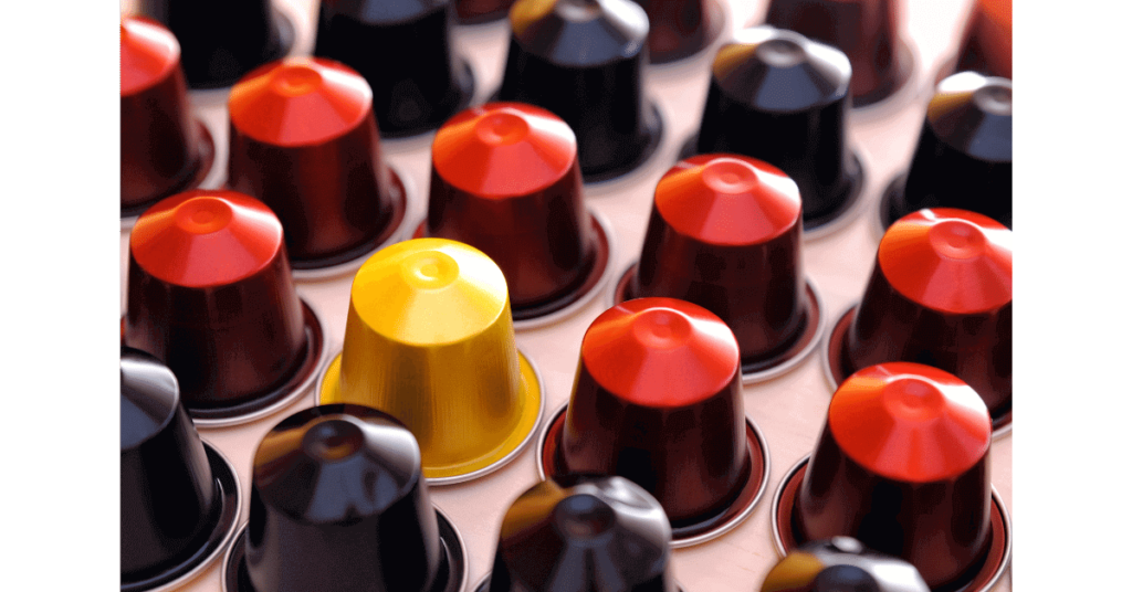 A lineup of Nespresso pods, which still cost less than cafe coffee