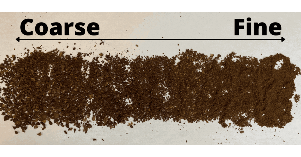 Types of coffee grinds, laid out from coarse extra coarse grind to extra fine grind