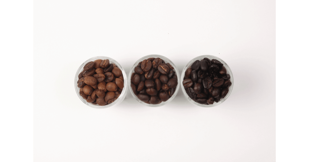 Three coffee bean roasts, one way of adding variety to different coffee drinks