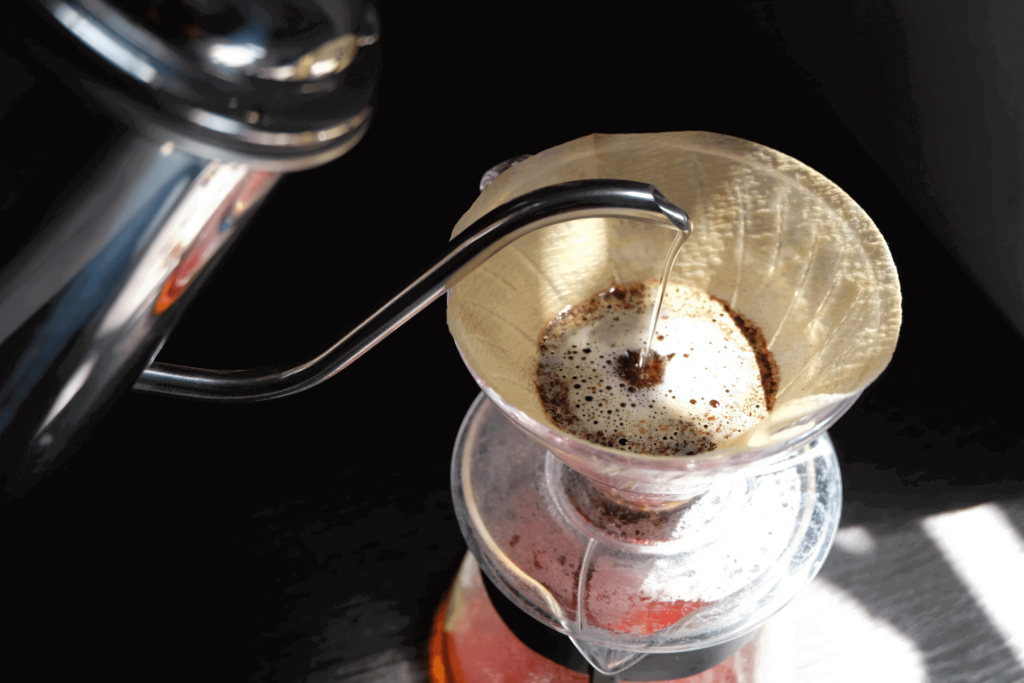 A manual pour-over, the process that automatic pour-over coffee machines mimic