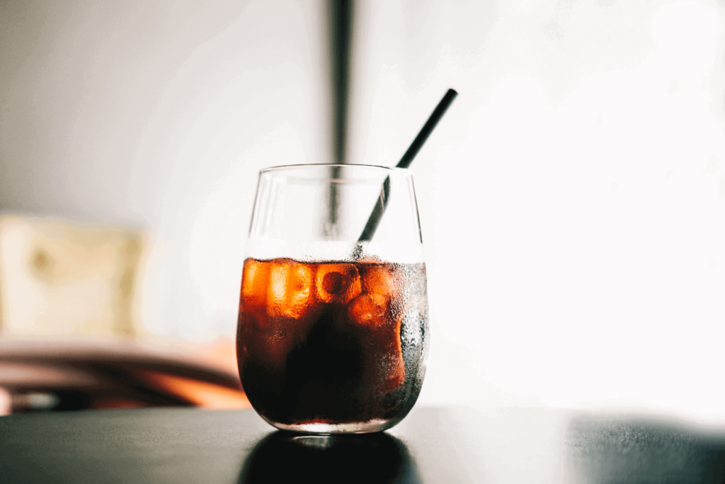 An iced cup of cold brew coffee