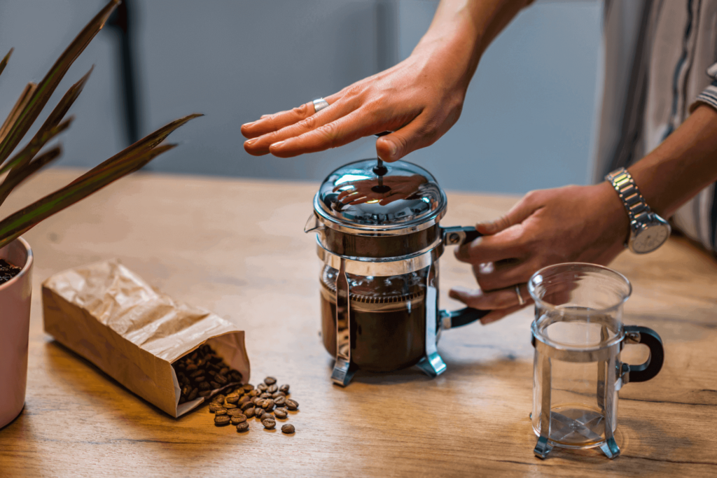 Making coffee with some of the best coffees for French press lovers.