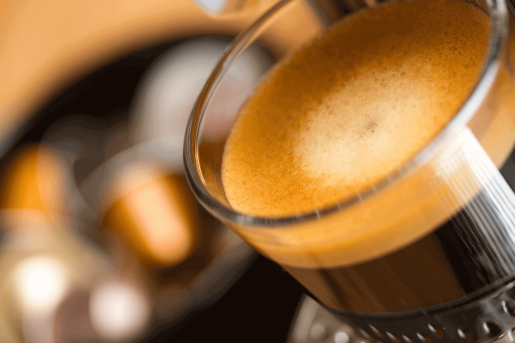 A cup of coffee from a Nespresso pod, showing the rich crema