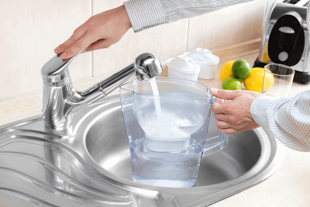 Filtered water, the type you should be using in your coffee maker